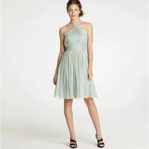 J. Crew Green Sinclair Silk Chiffon Halter Dress 2